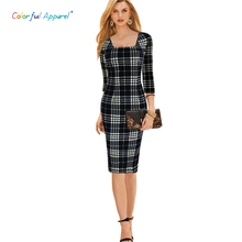 Colorful Apparel women's Elegant Tartan Square Neck Tunic Wear To Work Business Casual Party Stretch Sheath Dress CA238A