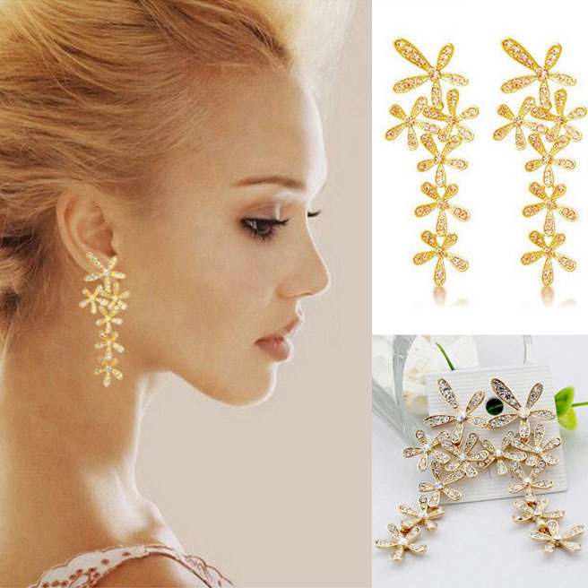 Women 2015 New Fashion Full Rhinestone Crystal Long Snowflake Flower Dangle Drop Tassel Earrings Gold Silver C1R27C(China (Mainland))