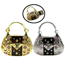 cute diamond handbag Bag crystal Gift 8gb 16gb 32gb jewelry crystal metal USB flash drive memory Stick pen drive U disk