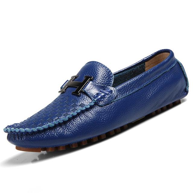 Мягкий футляр из натуральной кожи мужчин ботинок квартир свободного покроя бездельников ...