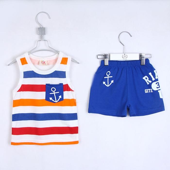 Wholesale Summer Kids Clothing Sets Boys Girls Vest Shorts Set  A0407 5sets/lot(China (Mainland))