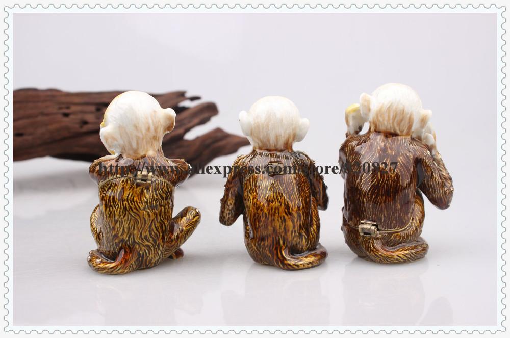 Monkey Family Hear, Speak, See No Evil Bejeweled Trinket Box Evil Monkey See No Hear Say Hinged Trinket Jewelry Box  (Set of 3)
