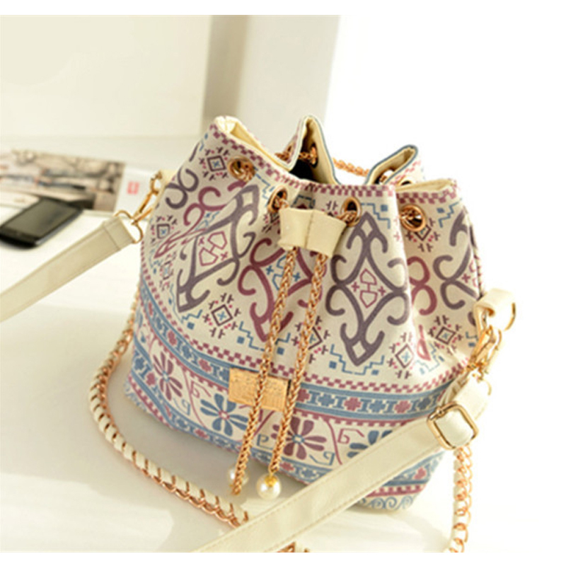 Bohemia Canvas Drawstring Bucket Bag Shoulder Handbags Women Messenger Bags Bolsa Feminina Bolsos