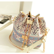 Summer Vintage Canvas Crossbody Shoulder Bag National Women Bag with Chain 2015  Drawstring Bead  bags for women