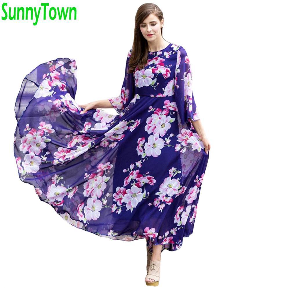 Brand New Arrival Summer Women Flower Print Long Maxi Dresses Casual Vintage Chiffon Dress Autumn 2016 Robe Longue Femme Blue