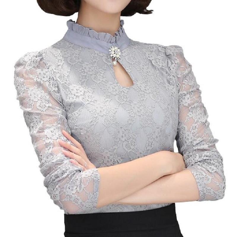 Plus Size Women Tops Chemise Femme Blusas Femininas Blouses & Shirts Women's Shirt Gray White Black Crochet Lace Elegant Blouse(China (Mainland))