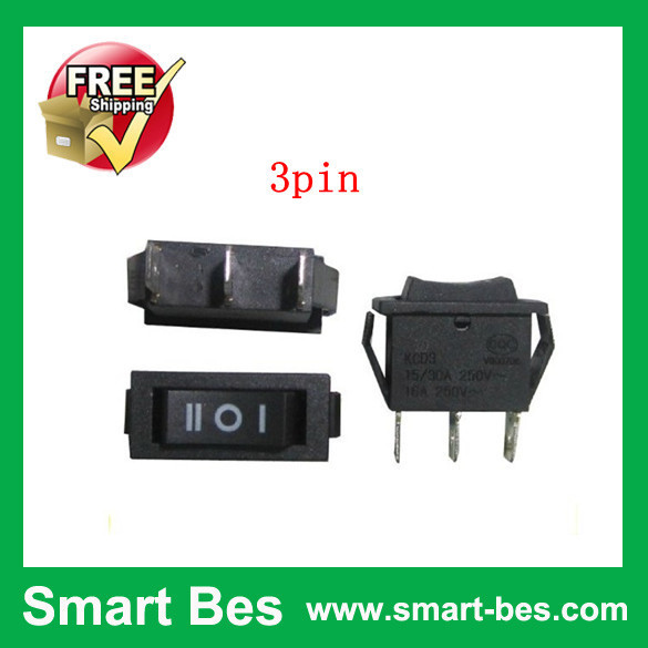 100PCS/Lot smart bes Rocker Switch 117S 3-Pin 250V3A 125V6A ON-OFF Black electronic components Free Shipping by SGP post<br><br>Aliexpress
