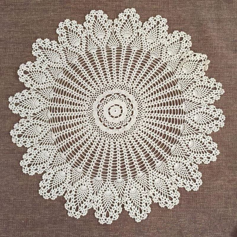 """Pastrol Style 32"""" Crochet Lace Round Table Topper Cloth Runner Wedding Home Decor Knit Flower Beige/White Tablecloth Cover(China (Mainland))"""