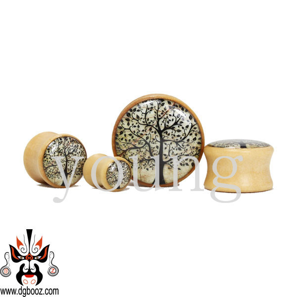wholesale new wood ear plugs tunnel piercing body jewelry 8-25mm free shipping WE-3105(China (Mainland))