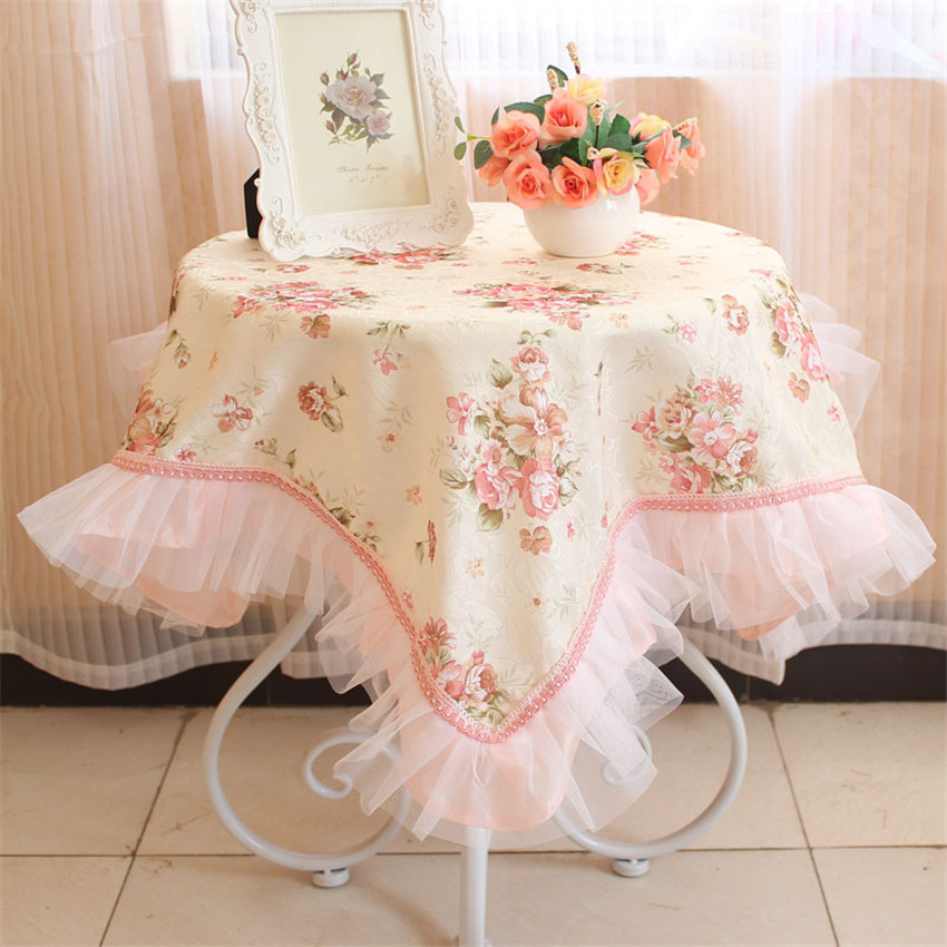 Pink Pastoral Printed Floral Home Tablecloth Table Dust Cloth Multi Funtion Jacquard Fabric Cover Towel for Home Textile(China (Mainland))