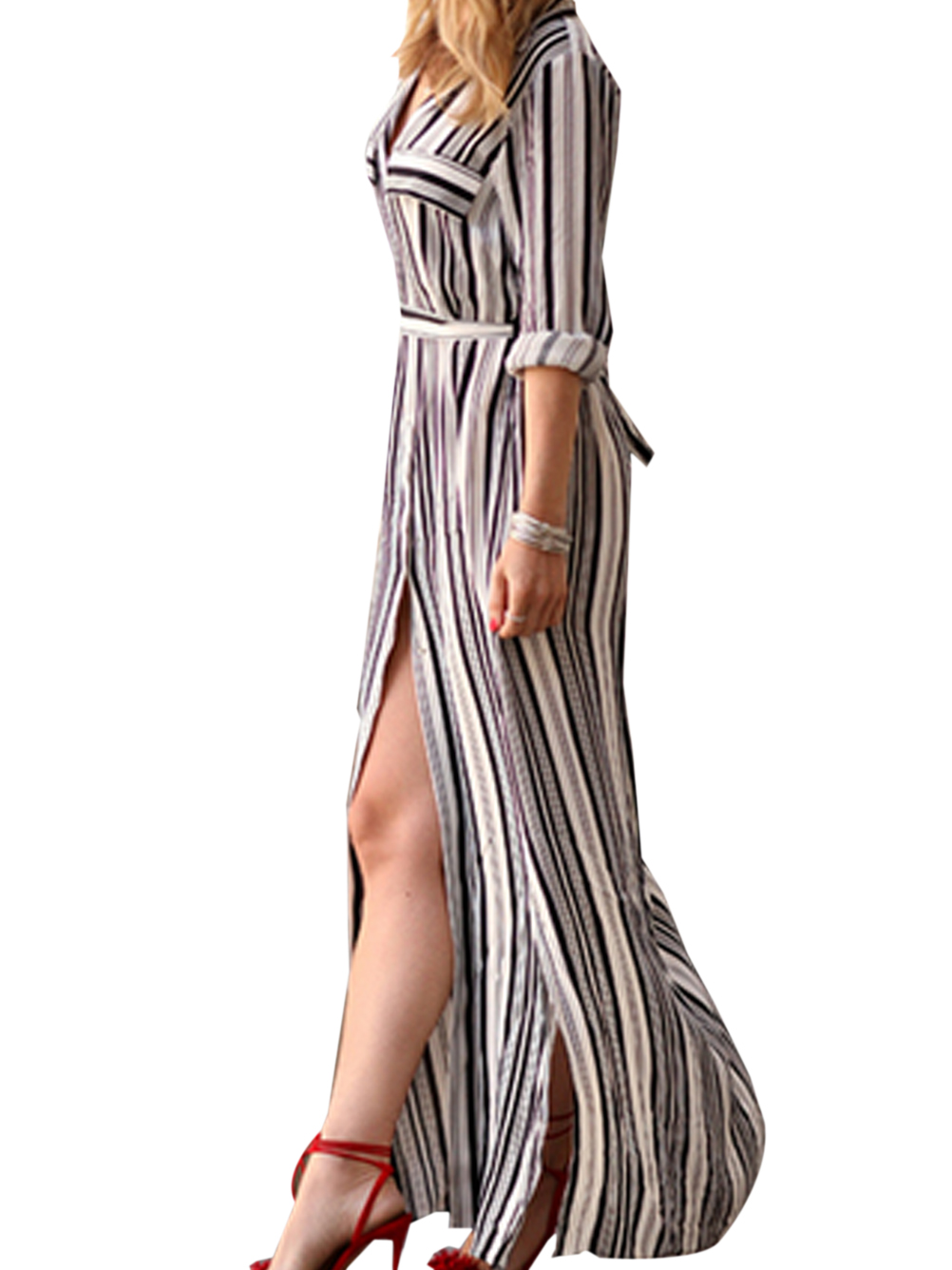 High Split Cut Out Vertical Striped Dress With Belt Long Maxi Slit Black And White Sexy Fashion Summer Dress Petite Elegant 2016(China (Mainland))