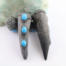 New style 4Pcs Fashion Ox Horn and Blue Turquoise Pendants, with Crystal Rhinestone Paved Point Horn Pendant, Gem stone Pendant(China (Mainland))