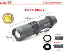 free shipping  MINI flashlight CREE XM-L T6  L2 2000LM LED torch waterproof zoomable Led rechargeable 18650 battery light(China (Mainland))