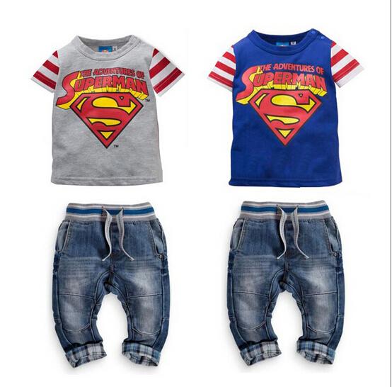 2015 Superman kids sport suit boys short-sleeved summer shirt + jeans denim suit 2 sets boys clothes clothes for boys(China (Mainland))