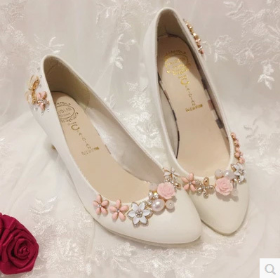 Wedding Shoes Pearl Princess 3CM/4.5CM6Cm//8.5CM Rhinestone HIgh Heels Bride Pumps Zapatos Mujer