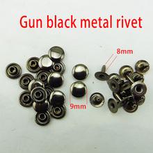 200pcs 9mm gun black metal RIVET buttons clothes accessory handbag findings MR-07(China (Mainland))