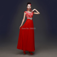 Long Red Prom Dress 2016 Evening Gowns Party Dinner Dress Double-shoulder Slim Lace Bridal Female Elegant Robe De Soiree Longue(China (Mainland))