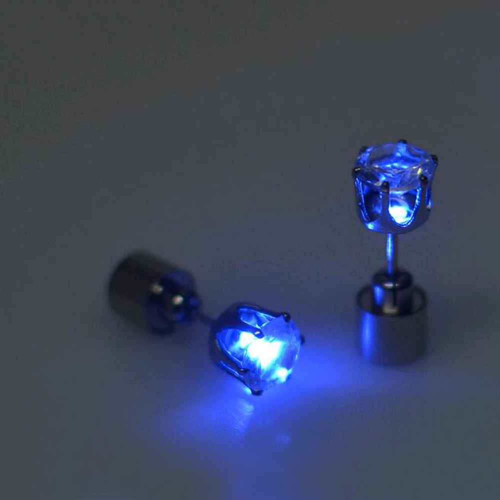 Hot sale 1 pcs. the charm of the LEDs light up to crown a glowing crystal stainless ear drops ear earring jewelry free shipping(China (Mainland))