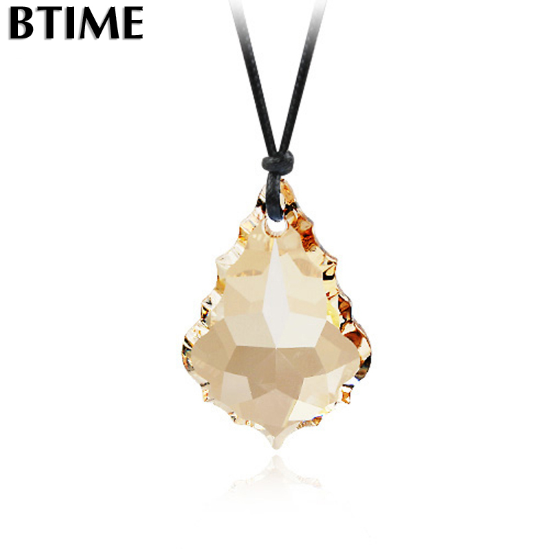 Gift Original Genuine Swarovski Elements Crystal Long Necklaces & Pendants With Black Rope Chain Fashion Women Jewelry Collier(China (Mainland))