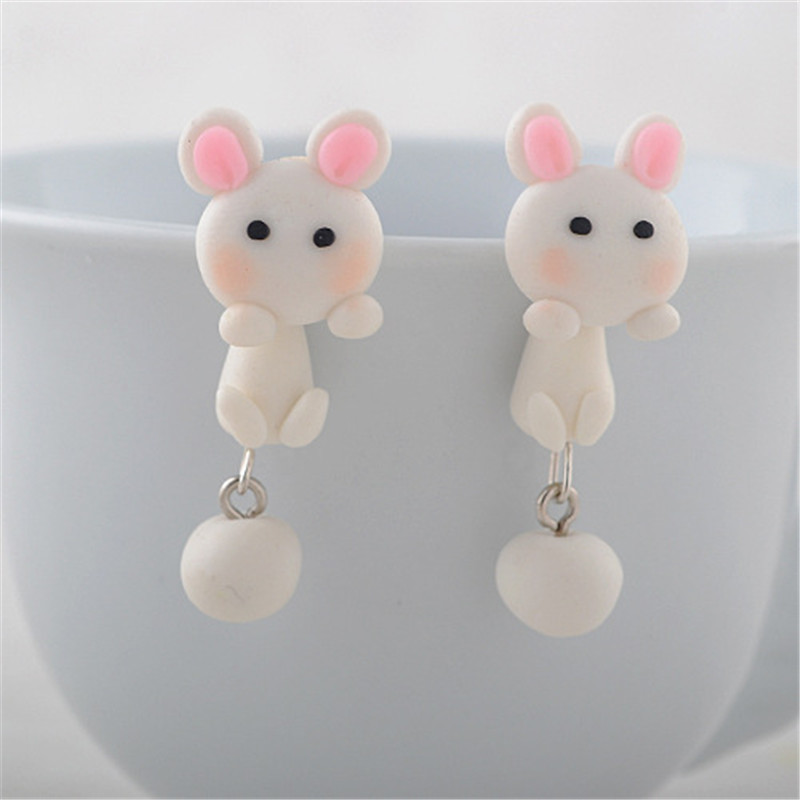 Popular Items Animal Earrings For Girls Pink Small Rabbit Polymer Clay Fimo Cute Lovely Stud Earrings Jewellery For Girls(China (Mainland))