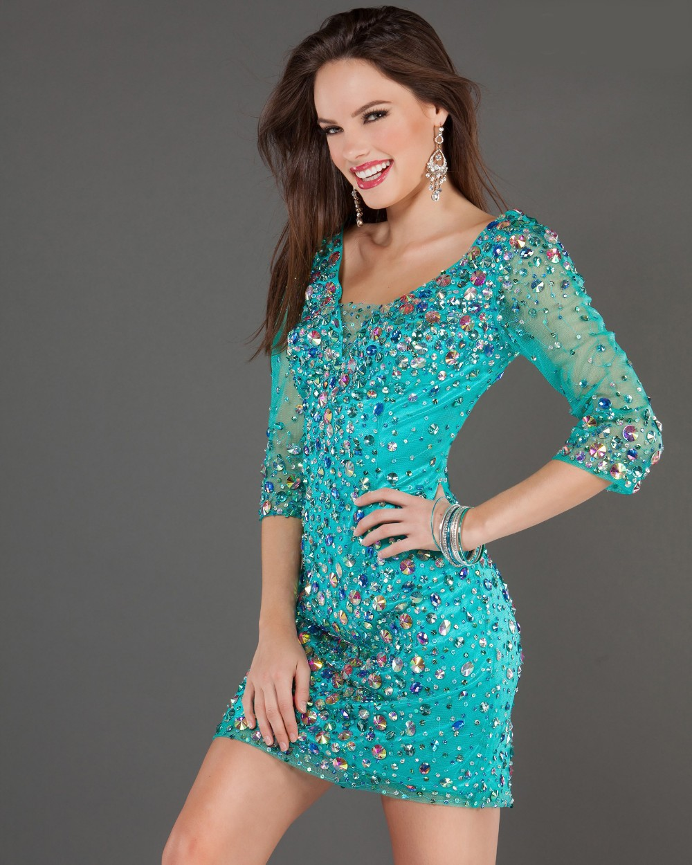 Turquoise Sparkly Short Homecoming Dresses Tight Waisted | Dress images