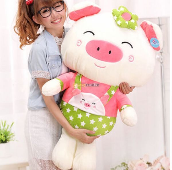 Fancytrader 39'' / 100cm Lovely Giant Plush Stuffed Braces Dressing Pig Toy, Best Gift for Kids Girls, Free Shipping FT50078(China (Mainland))