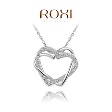 ROXI Brand Jewelry Double Heart Pendants Crystal Necklace Gold plated Silver Chain Contemporary Inlay Necklace Women