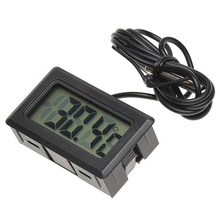 Black Mini LCD Digital Panel Thermometer Temperature Sensor Display Meter