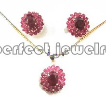 Ruby set Free shipping Real natural ruby 1pc stud earring 1pc pendant  925 sterling silver Wedding jewelry sets Fine jewelry (China (Mainland))