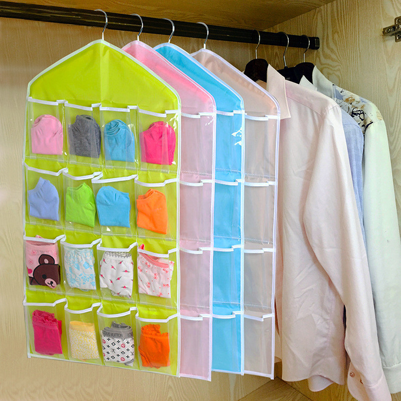 16Pockets Clear Hanging Bag Socks Bra Underwear Rack Hanger Storage Organizer closet clothes organizing bags drop shipping(China (Mainland))