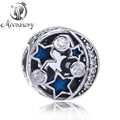 2016 Hot Sale Authentic 925 Sterling Silver Star Bead With Blue Enamel And Clear CZ Silver