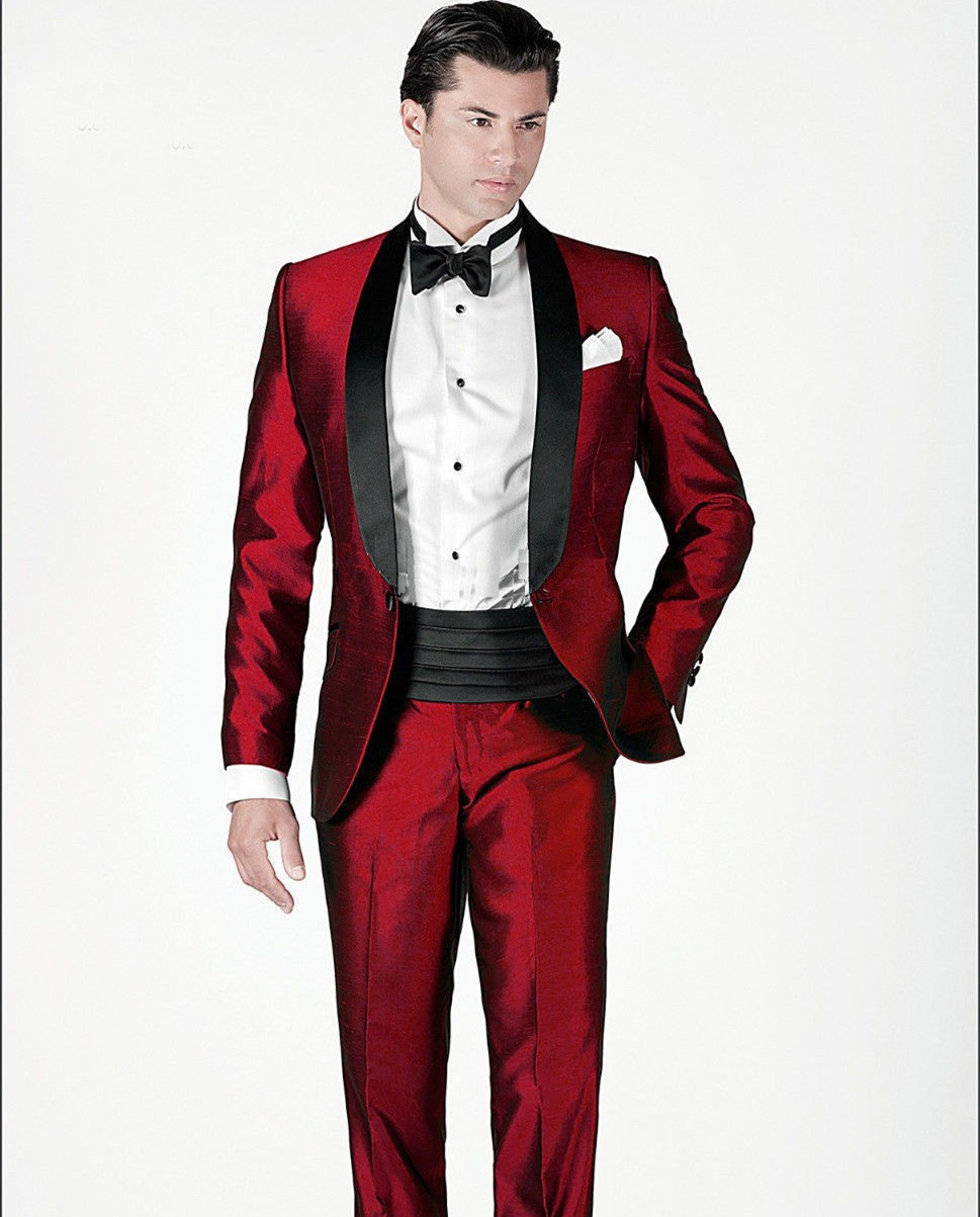 Blazers For Rent: Red Tuxedo Jacket Custom Made Suits Shiny Stain For Men