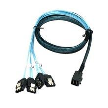 Internal Mini SAS SFF-8643 Host to 4 SATA 7pin Hard Disk Fanout 6Gbps Data Server Raid Cable 1m 100cm 3ft