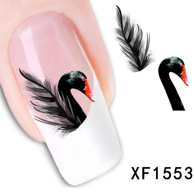 1 Sheet New Arrival Water Transfer Nail Art Stickers Decal Beauty Black Swan&Feather Design Manicure Tool (XF1553 D)(China (Mainland))