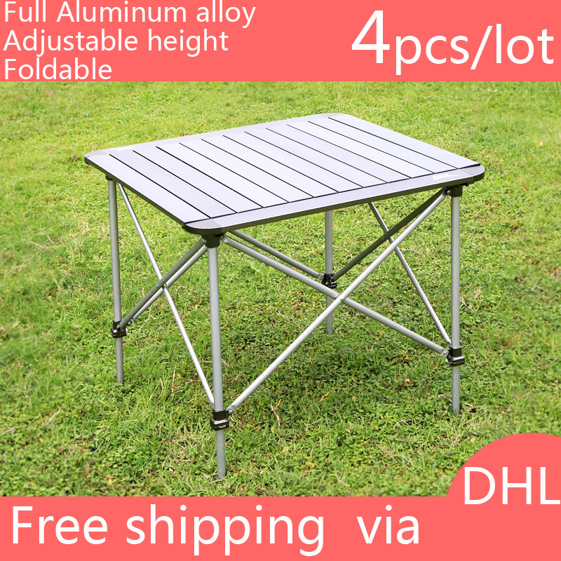4 pcs Brand Quality Full Aluminum Alloy Outdoor Camping Picnic Portable Folding Table Garden Beach Furniture Adjustable Height(China (Mainland))