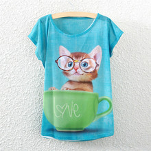 free shipping 2015 summer new European and American cup kitten small bat sleeve T-shirt printing loose women's T Wholesale tide