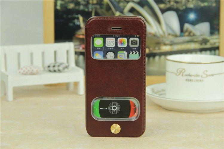 For iPhone 5S Sheepskin Flip Cover intelligent window touch For Apple iPhone 5 5S Genuine leather ultra-thin Phone Cases Cover(China (Mainland))
