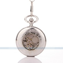 New Classic Steampunk Mechanical hand wind Stainless Steel Mens Roman women pocket watches free shipping 052989