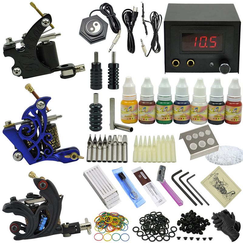 OPHIR TOP Complete 3Dragonfly Rotary Tattoo Machine Guns & 7 Color Tattoo Ink & Needle Set Tatoo Nozzles #TA080(China (Mainland))