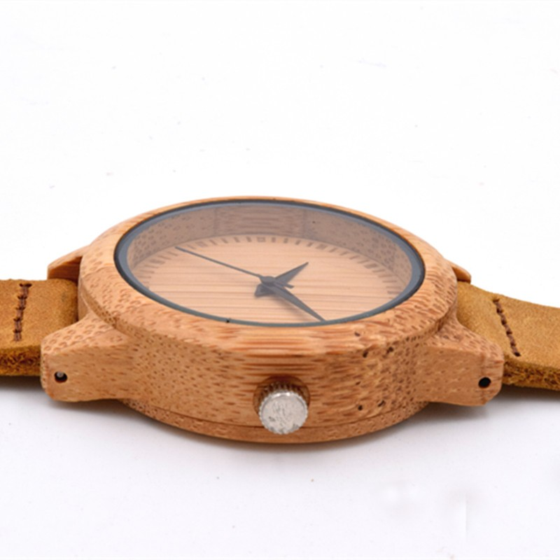 Hot Selling Japen MIYOTA Movement Quartz Bamboo Watch For Women With Genuine Leather Watchband For New Year Gifts