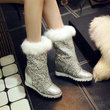 2014 otoño Paillette cuñas de nieve botas de piel mediano de la pierna botas de plataforma de tacón alto de la mitad de la rodilla altos zapatos de moda tacones botas de piel(China (Mainland))