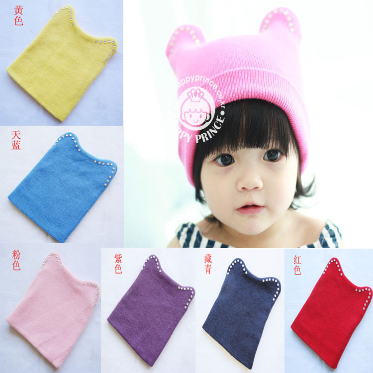 Korean winter baby drill sleeve cap female baby cat ear cap hat knitted children Baotou tide(China (Mainland))