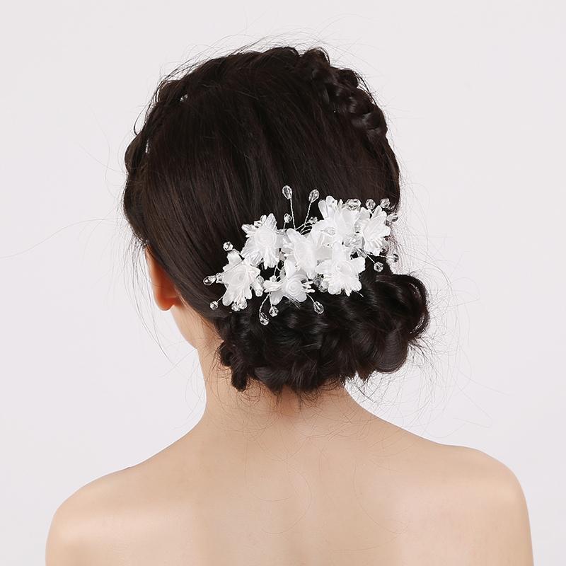High Quallly Elegant Girl Soft Pearl Short Bride Barrettes Hair Accessory Fabric Flower Wedding Hair Clip Hair Comb Tiaras(China (Mainland))