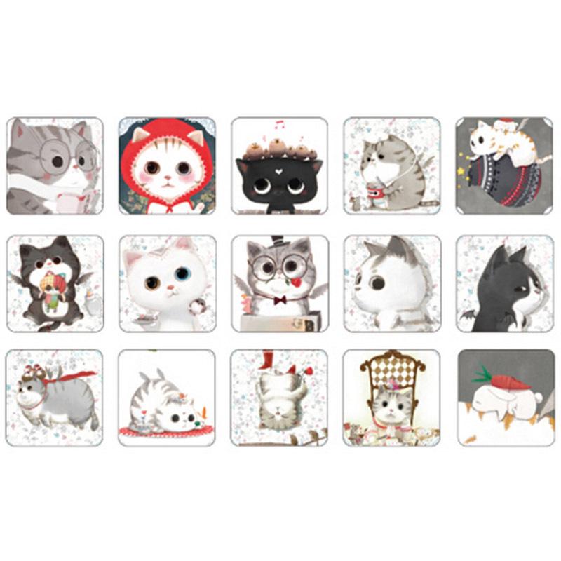 Гаджет  90 pcs/ 2 boxes mini cat sticker set decoration decal DIY ablum diary scrapbooking sealing sticker kawaii stationery None Офисные и Школьные принадлежности
