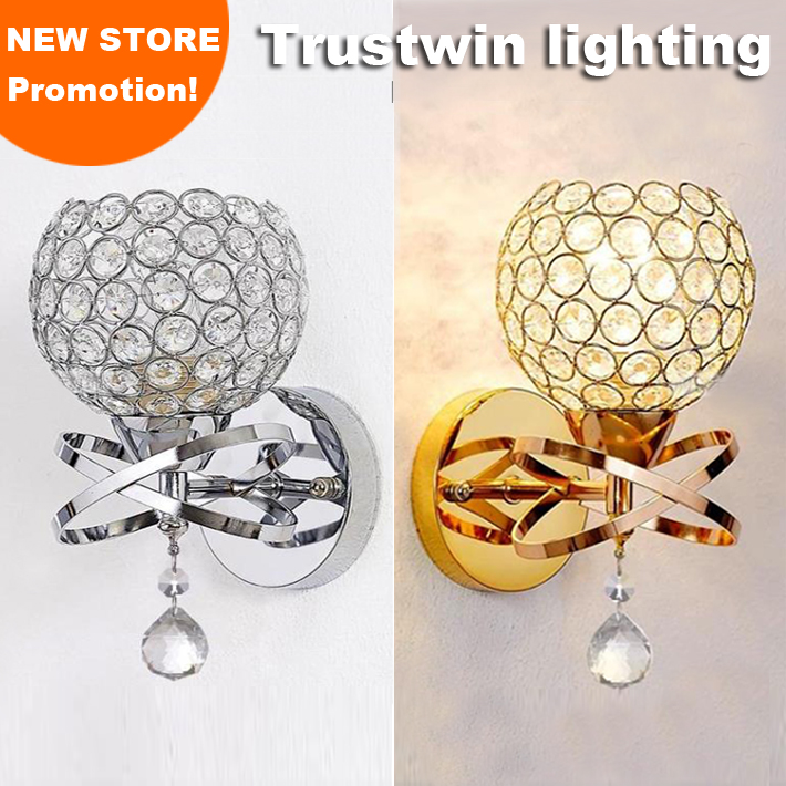 Gold Ball Wall Lights : Classic Vintage Crystal wall light Bedside Silver Gold ball crystal Wall Lamp 110V 220V crystal ...