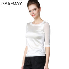 GAREMAY Summer Women Blouses Office Elegant Shirts Mesh Ladies Tops White Imitation Silk Tops For Women Cheap Clothes China 090