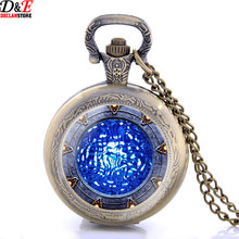 New Bronze Stargate Portal Atlantis Necklace Art Photo Glass Pocket Watch Vintage Pendant Gift P2007