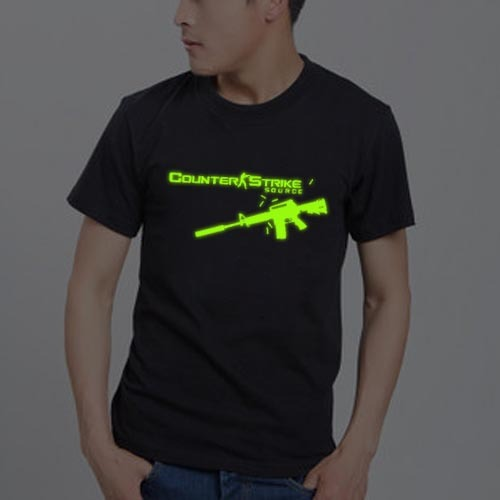 Men's clothing hot-selling luminous light emitting T-shirt short-sleeve shirt