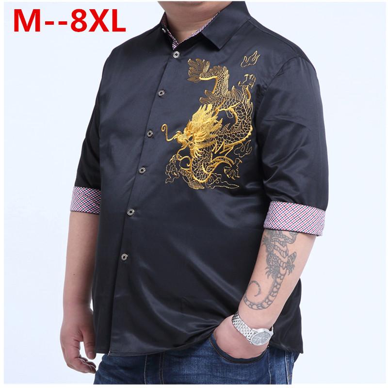 plus large big size 9xl 8XL 7XL 6XL 5XL 4XLEmbroidery Dragon font b Shirts b font
