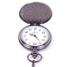 New Classic Smooth Black Full-Hunter White Dial Vintage Steel Watches Men Quartz Pocket Watch HITM #56863(China (Mainland))